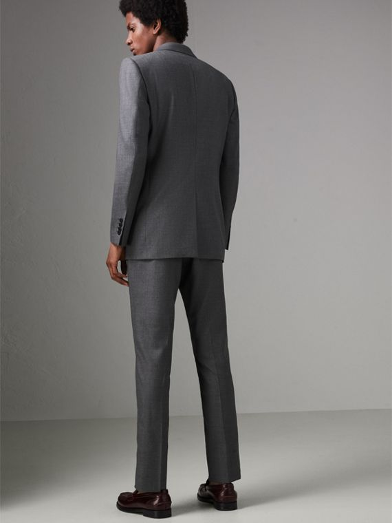 Modern Fit Sharkskin Wool Suit in Mid Grey Melange - Men | Burberry - cell image 2