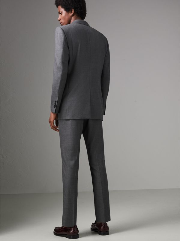 Classic Fit Sharkskin Wool Suit in Mid Grey Melange - Men | Burberry - cell image 2