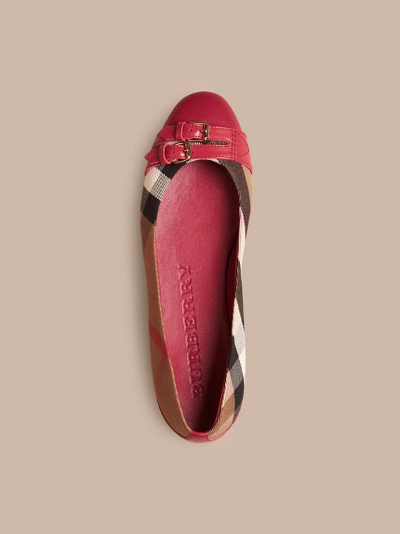 Russet red Bridle House Check Ballerinas - cell image 2