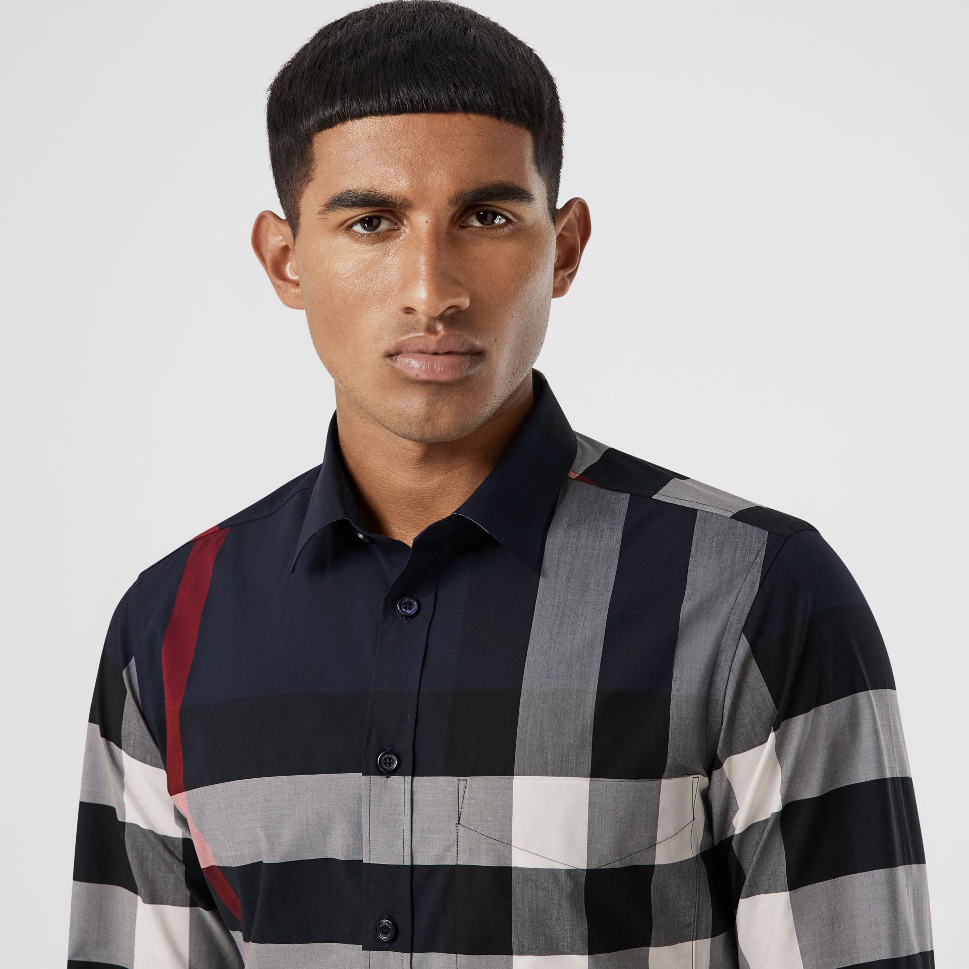 Check Stretch Cotton Poplin Shirt in Navy - Men | Burberry - gallery image 1