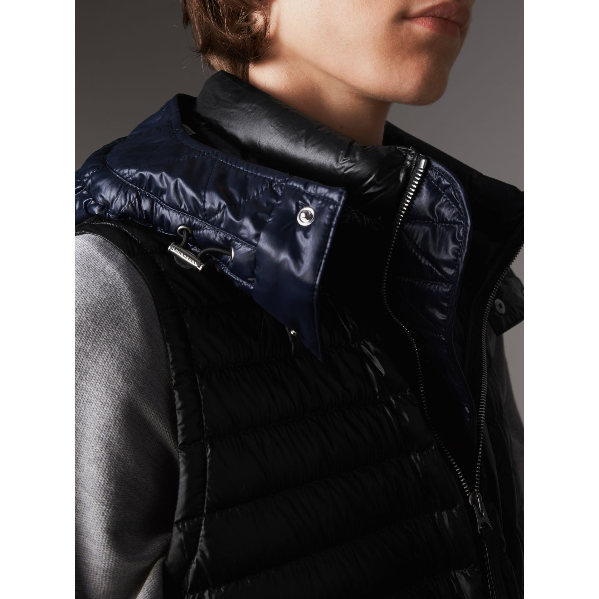 Detachable Hood Packaway Goose-down Gilet in Black - Men | Burberry - gallery image 2