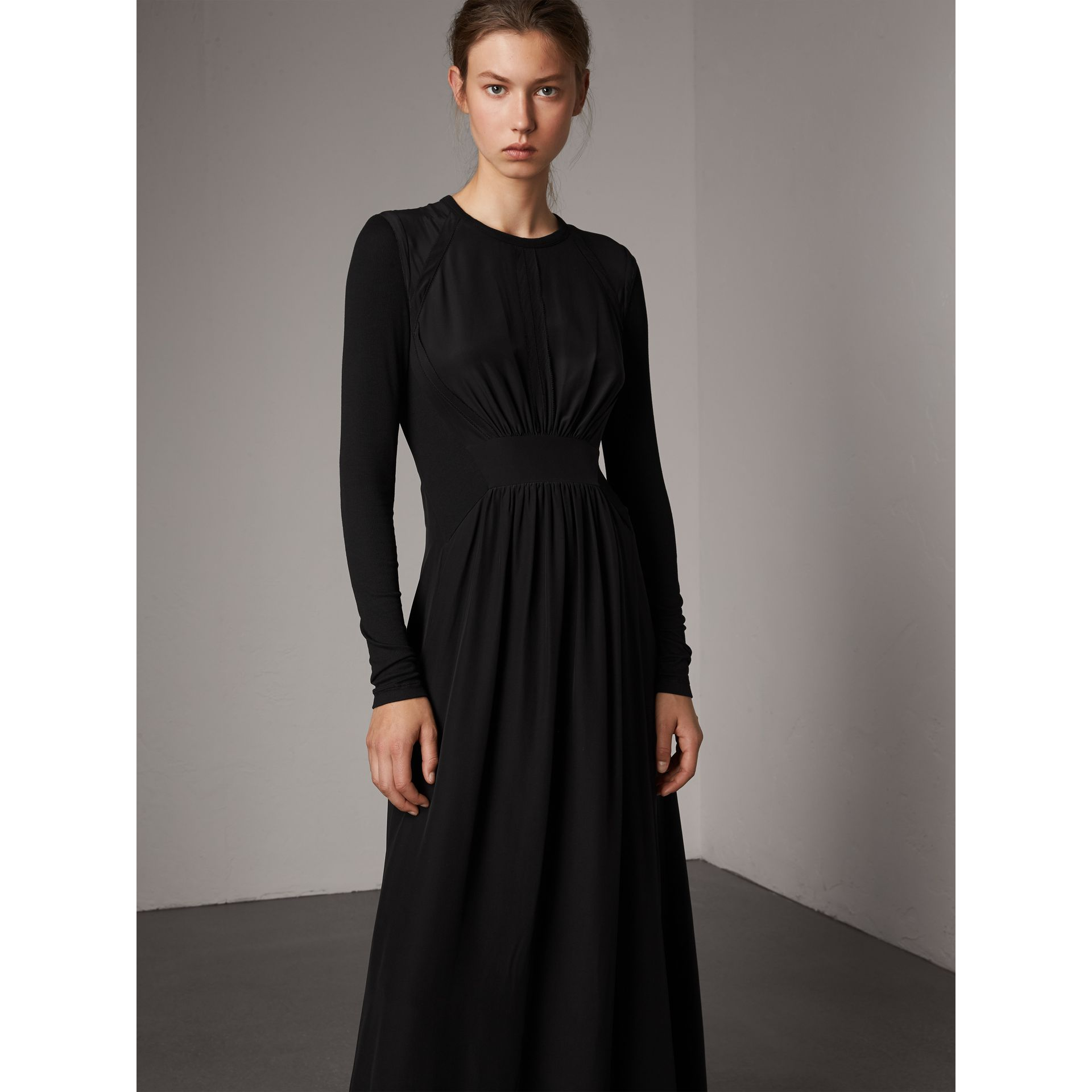 Silk Floor-length Gathered Dress in Black - Women | Burberry Singapore - gallery image 5