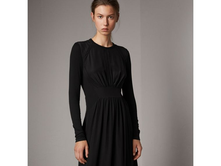 Silk Floor-length Gathered Dress in Black - Women | Burberry United Kingdom - cell image 4