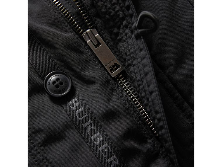 Fur-trimmed Down-filled Hooded Puffer Coat in Black - Boy | Burberry - cell image 1