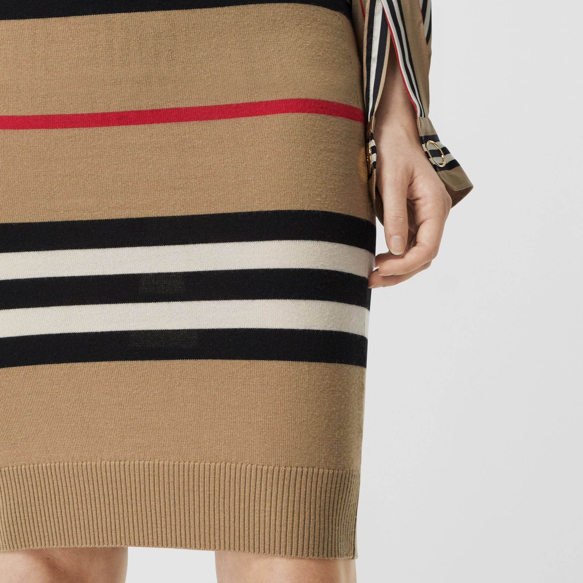 Icon Stripe Merino Wool Pencil Skirt in Archive Beige - Women | Burberry - gallery image 5