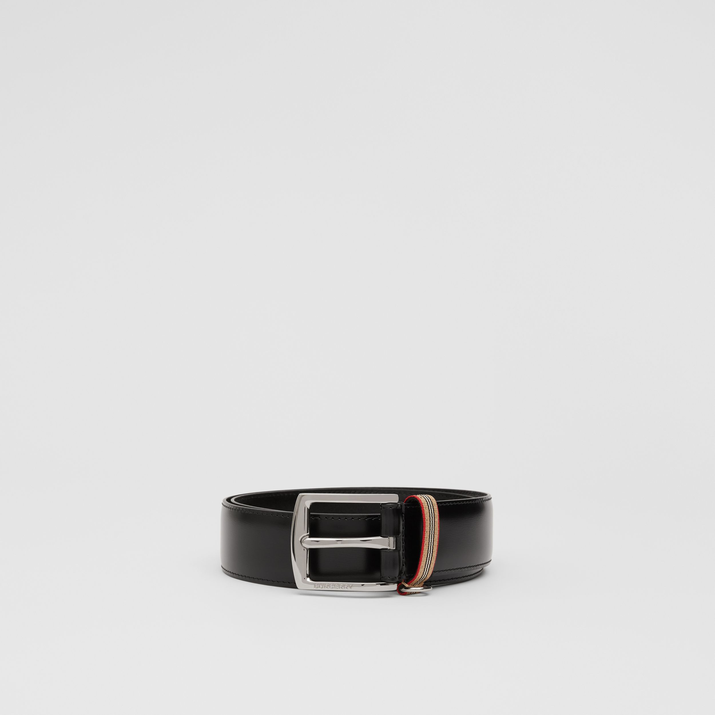 Icon Stripe Detail Leather Belt in Black - Men | Burberry - 4