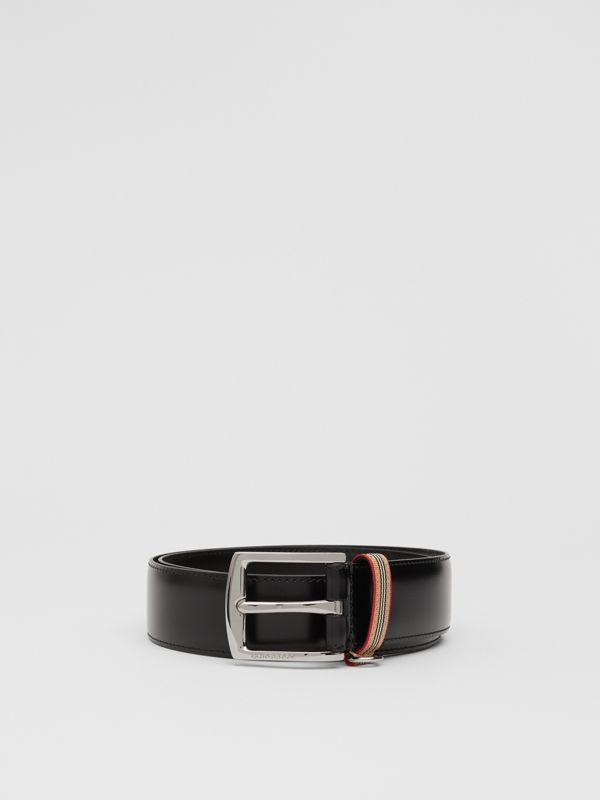 Icon Stripe Detail Leather Belt in Black | Burberry United Kingdom - cell image 3