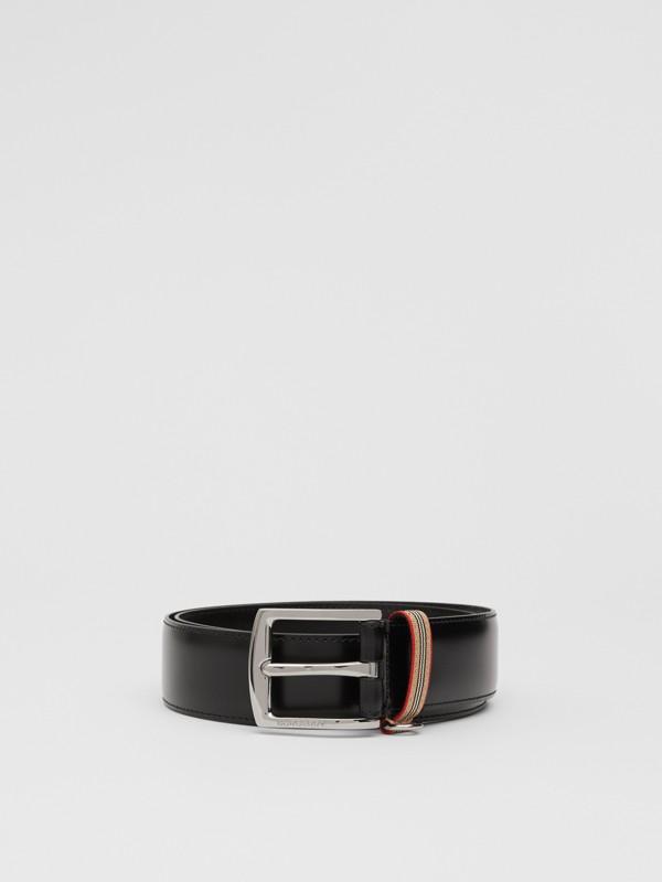 Cintura in pelle con dettaglio nell'iconico motivo a righe (Nero) | Burberry - cell image 3