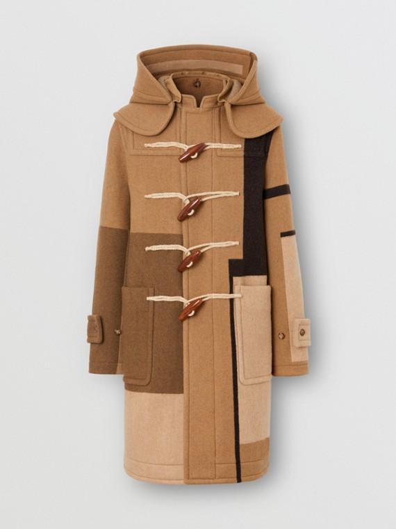 Panelled Wool Duffle Coat in Warm Camel
