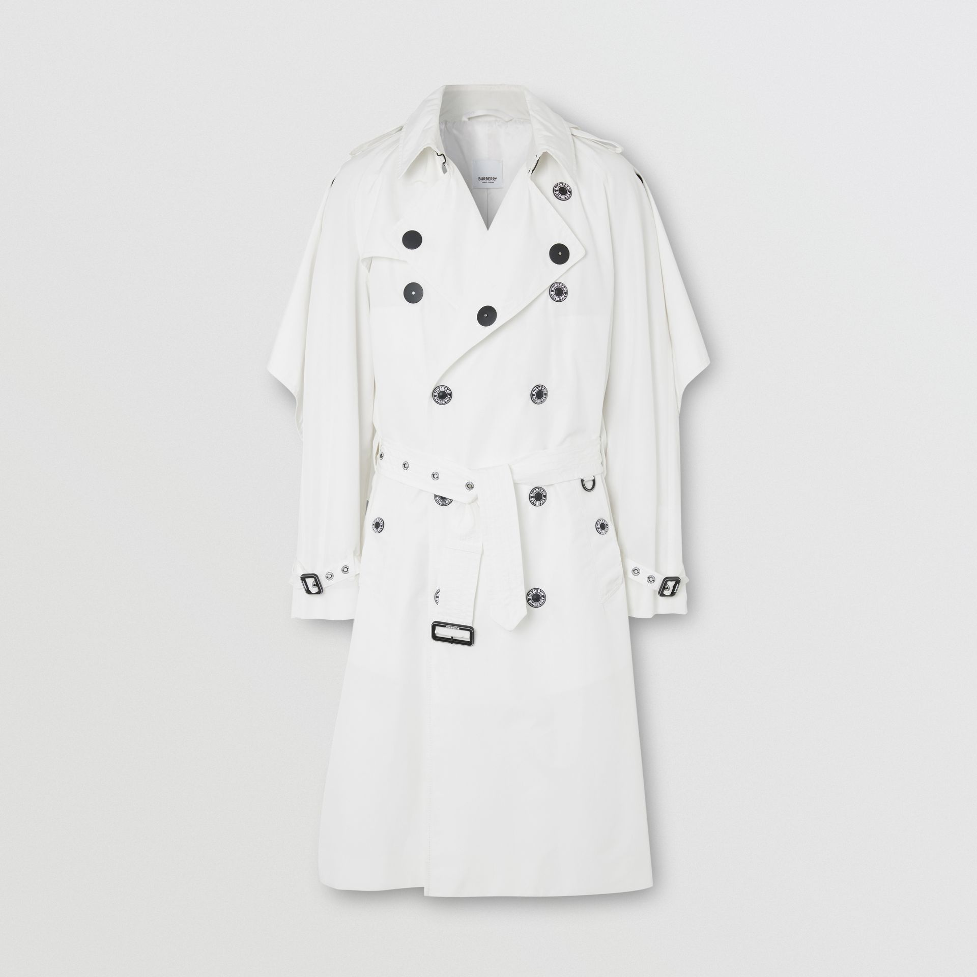 Cape Detail Technical Faille Reconstructed Trench Coat in Optic White - Men | Burberry Singapore - gallery image 2
