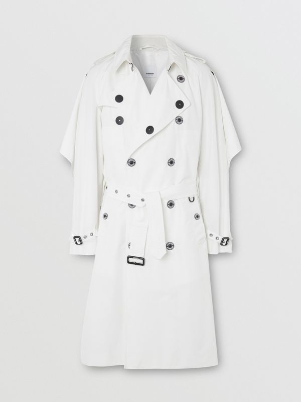 Cape Detail Technical Faille Reconstructed Trench Coat in Optic White - Men | Burberry - cell image 2