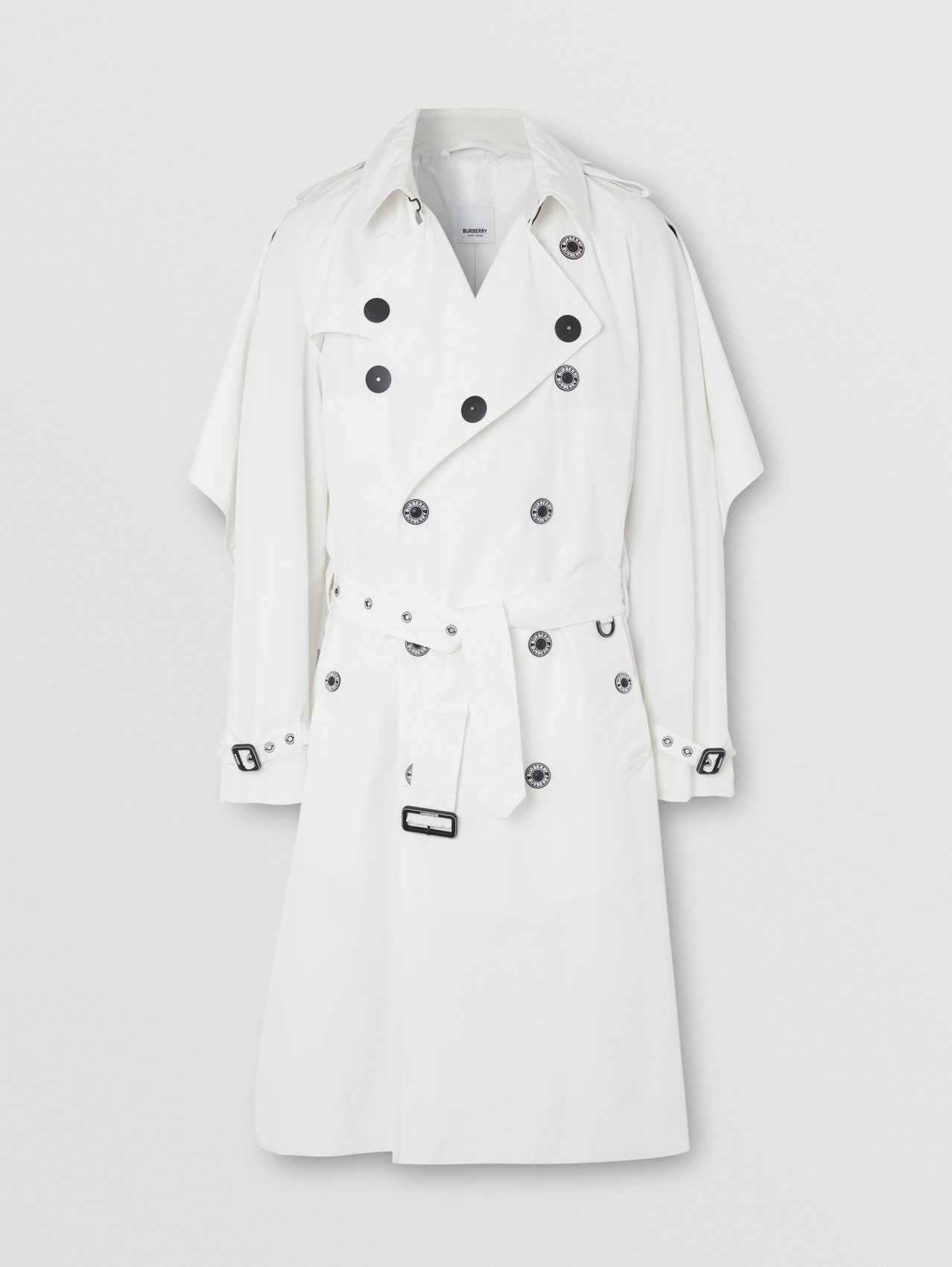 Cape Detail Technical Faille Reconstructed Trench Coat in Optic White