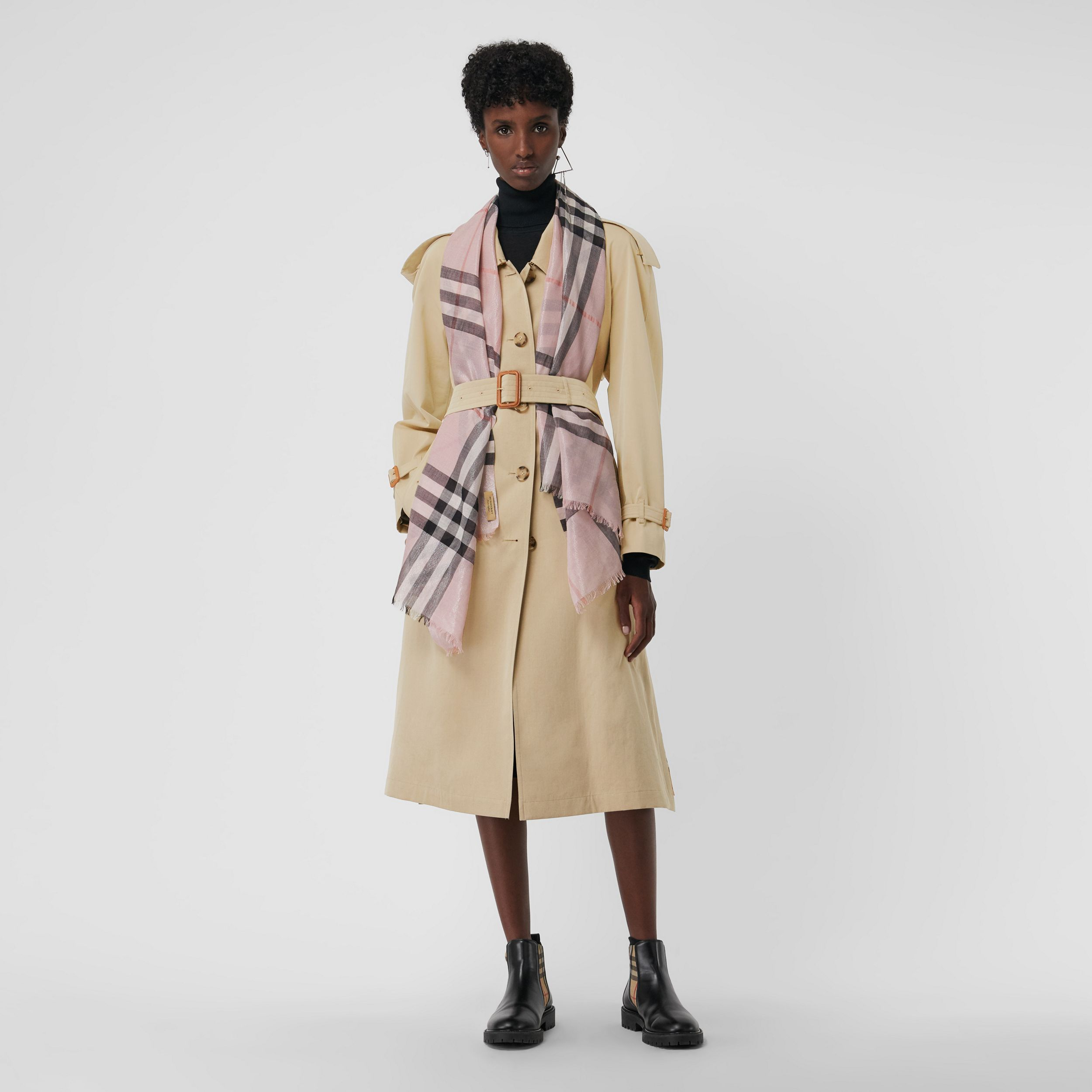 Metallic Check Silk and Wool Scarf in Ash Rose/silver | Burberry - 3