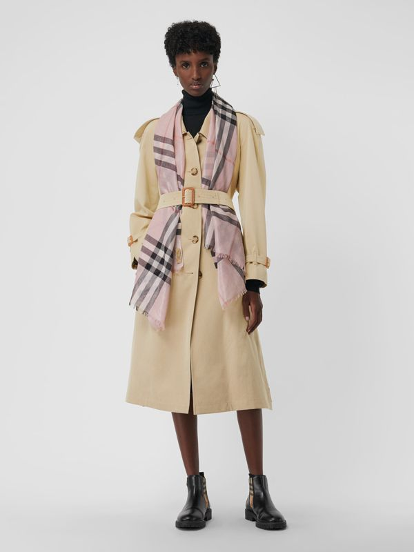 Metallic Check Silk and Wool Scarf in Ash Rose/silver | Burberry Australia - cell image 2