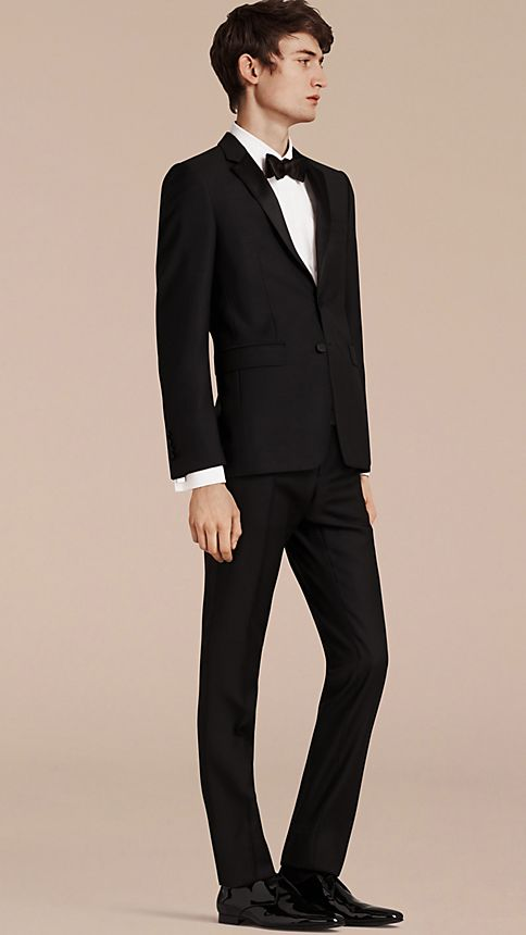 Black Slim Fit Wool Mohair Half-canvas Tuxedo - Image 1