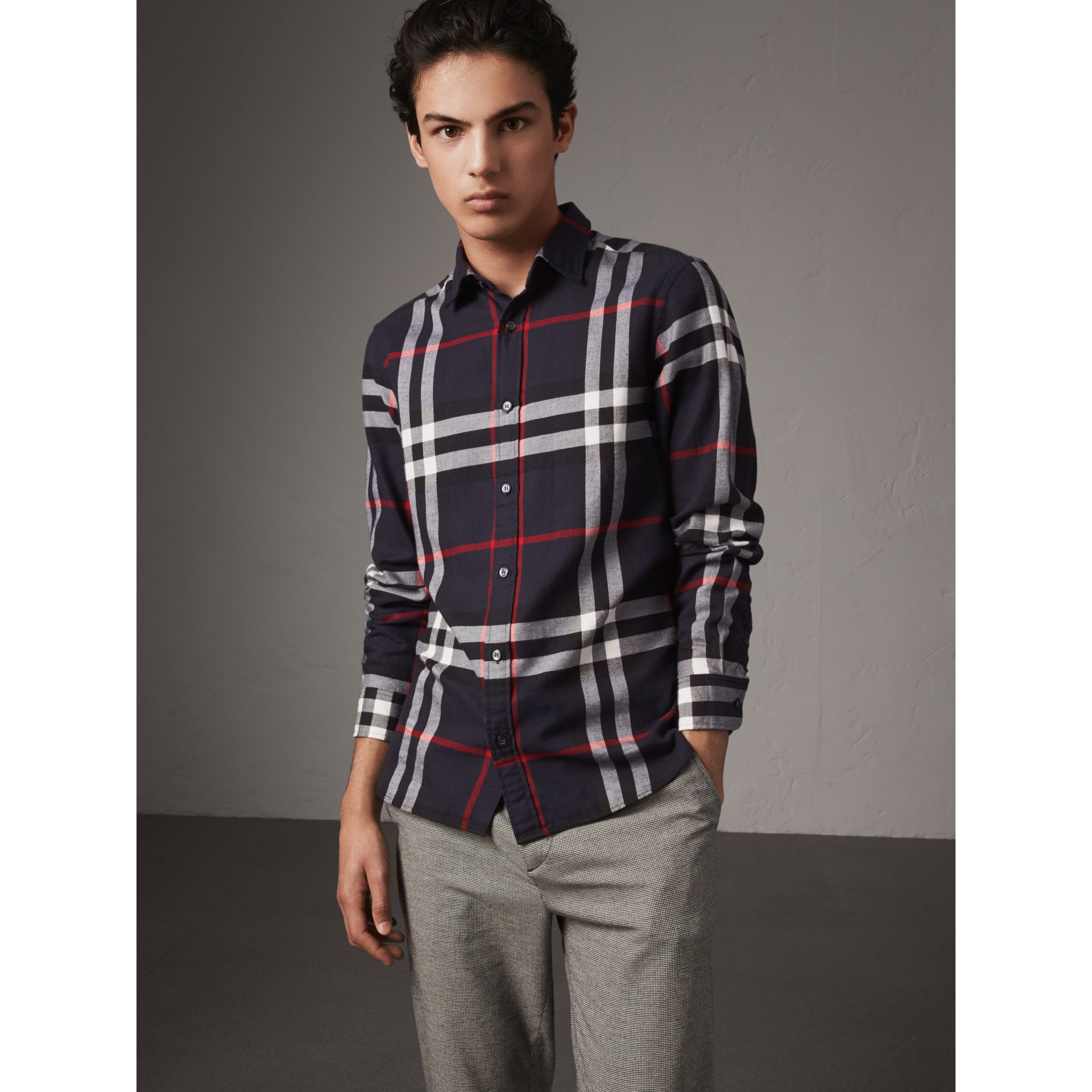 Check Cotton Flannel Shirt in Navy - Men | Burberry Singapore - gallery image 5