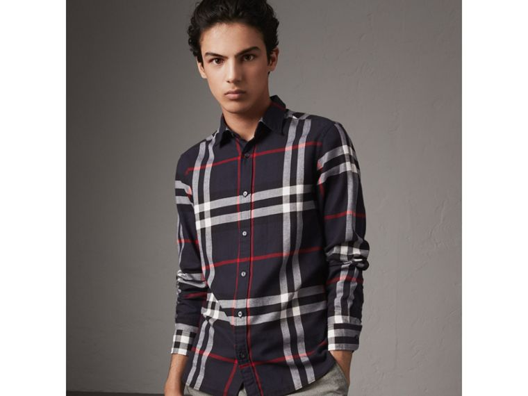 Check Cotton Flannel Shirt in Navy - Men | Burberry United Kingdom - cell image 4