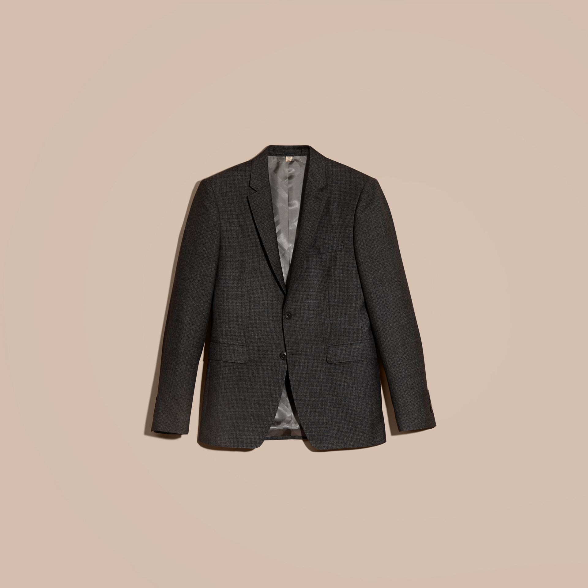 Dark grey melange Slim Fit Melange Wool Half-canvas Suit - gallery image 4