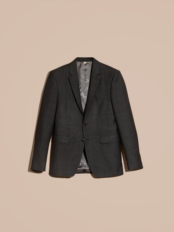 Dark grey melange Slim Fit Melange Wool Half-canvas Suit - cell image 3