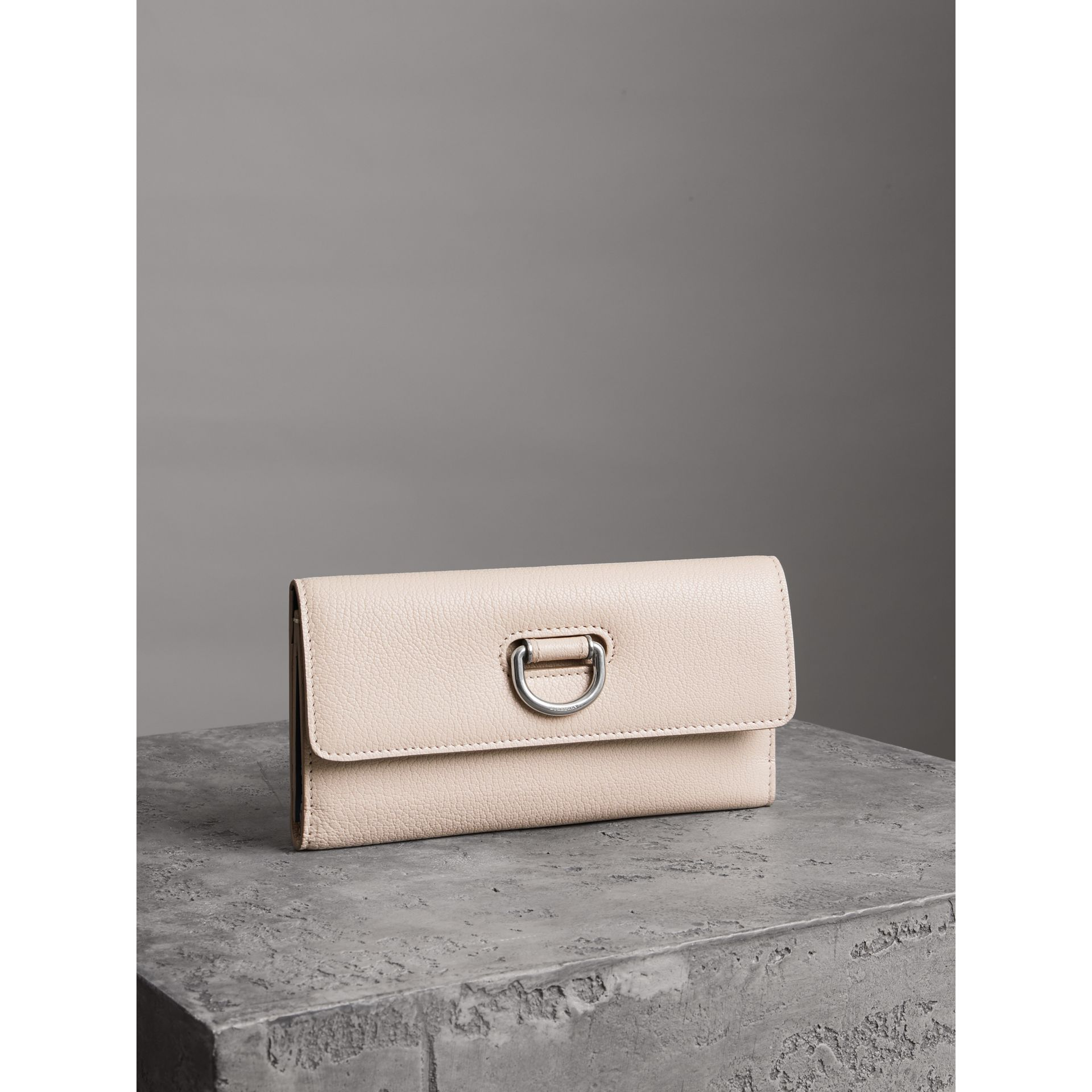 D-ring Grainy Leather Continental Wallet in Stone - Women | Burberry - gallery image 4