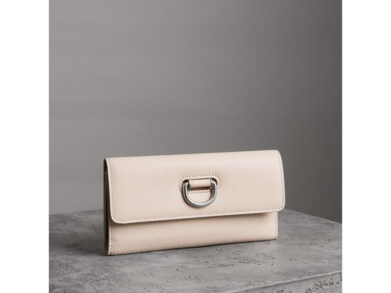 D-ring Grainy Leather Continental Wallet in Stone - Women | Burberry - cell image 4