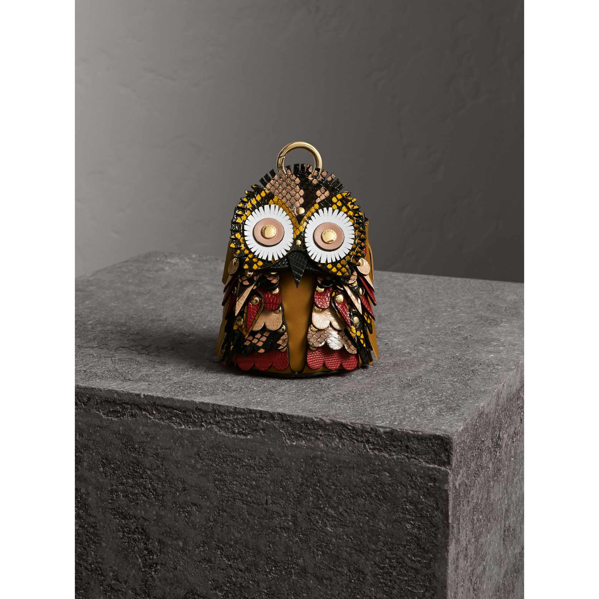 The Owl – Leather and Snakeskin Coin Case in Pale Apricot - Women | Burberry - gallery image 5