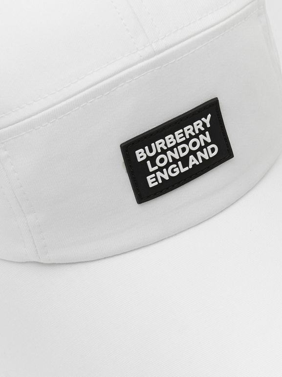 Logo Appliqué Cotton Bonnet Cap in Optic White | Burberry United States - cell image 1
