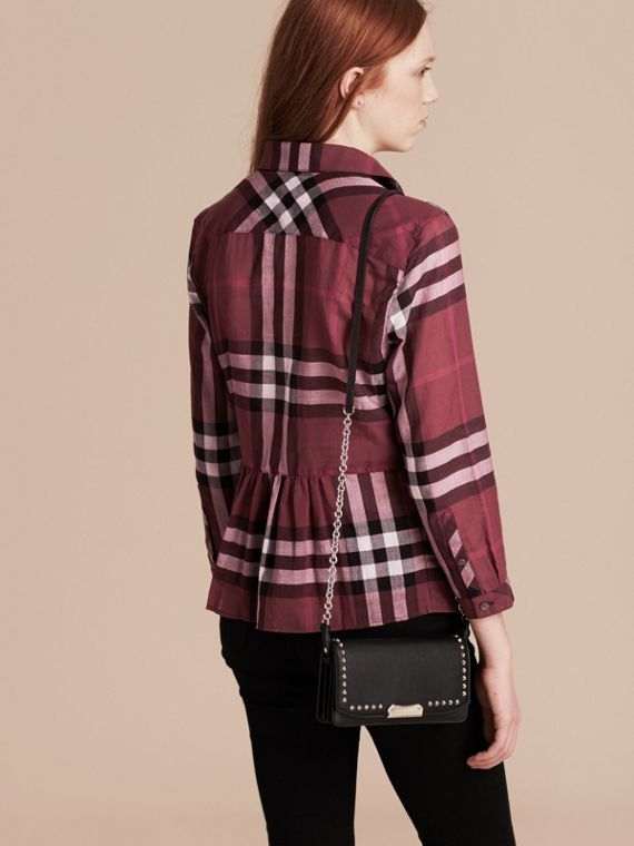 Magenta Check Cotton Peplum Shirt Magenta - cell image 2