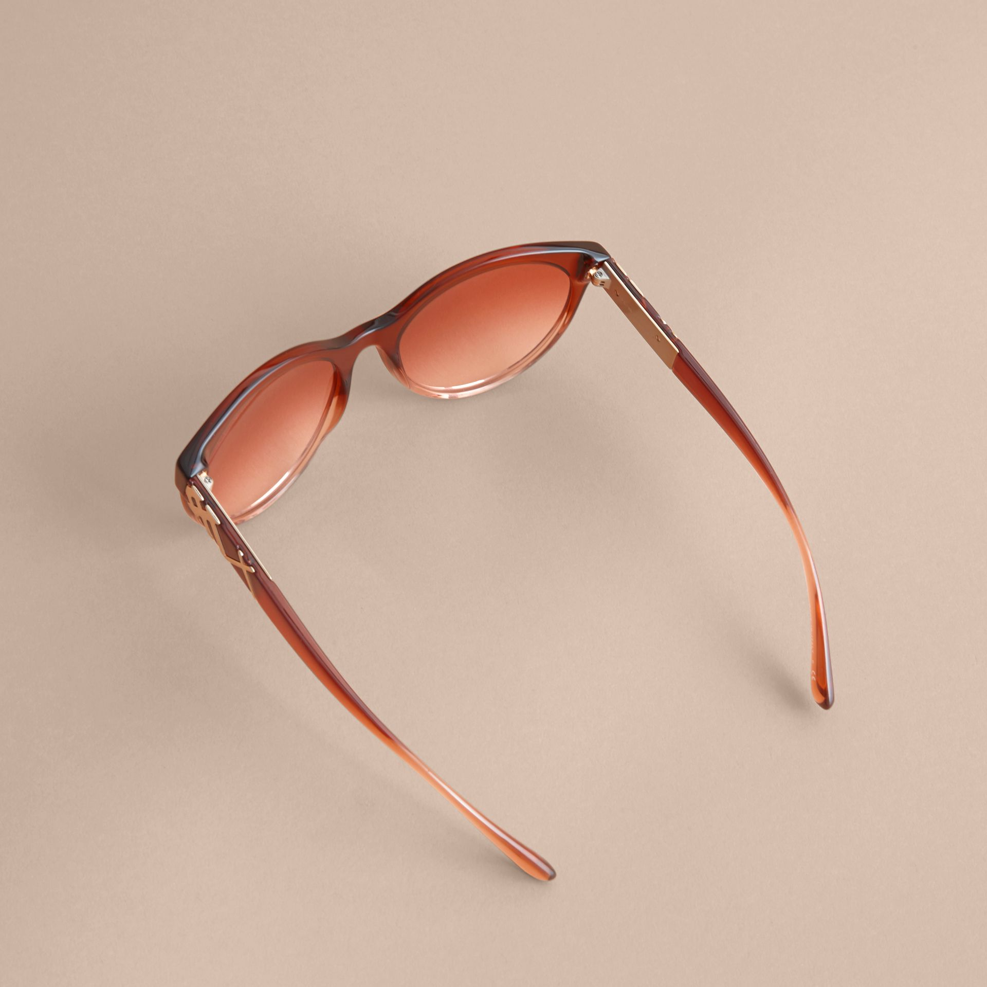 Check Detail Round Frame Sunglasses in Rose - Women | Burberry - gallery image 4