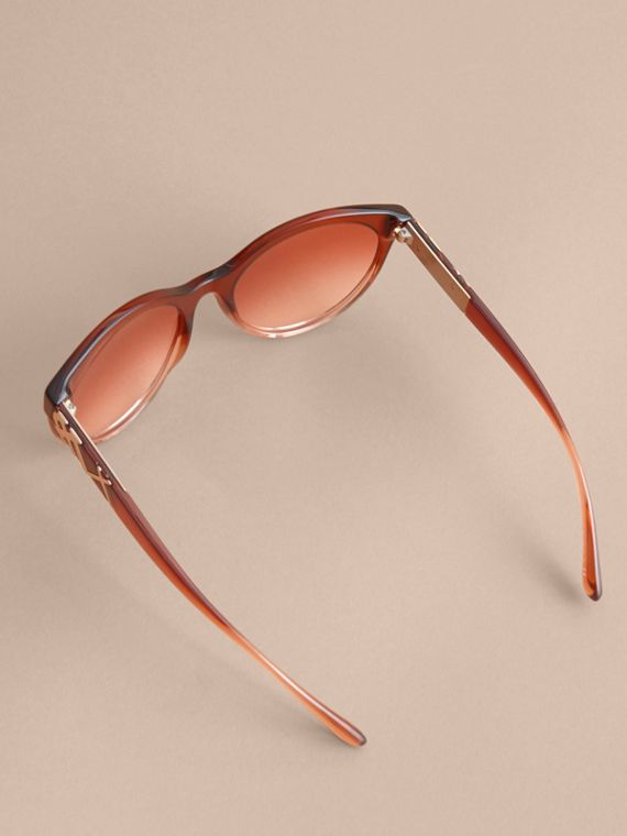 Check Detail Round Frame Sunglasses in Rose - Women | Burberry - cell image 3