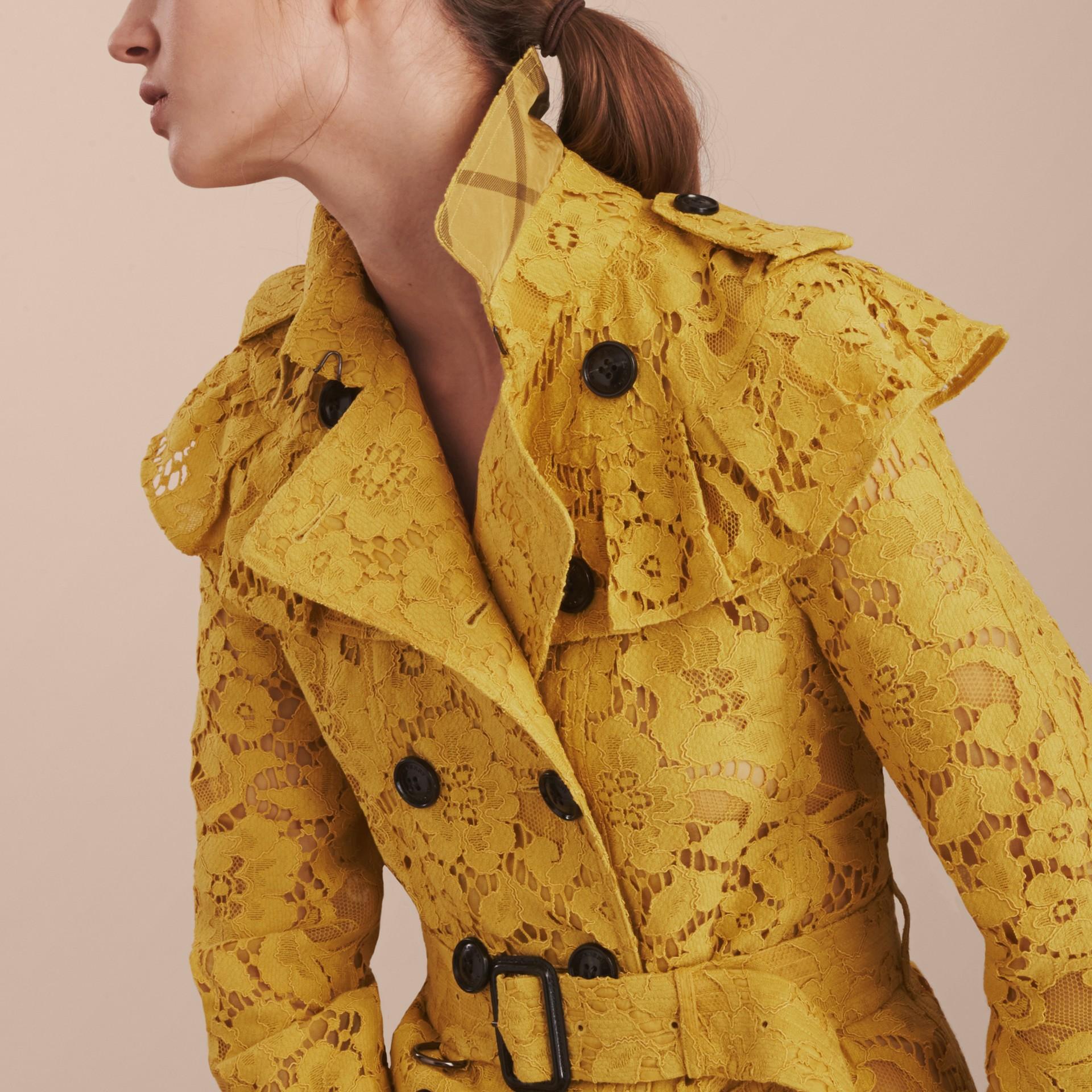 Ruffle Detail Macramé Lace Trench Coat Dandelion - gallery image 6