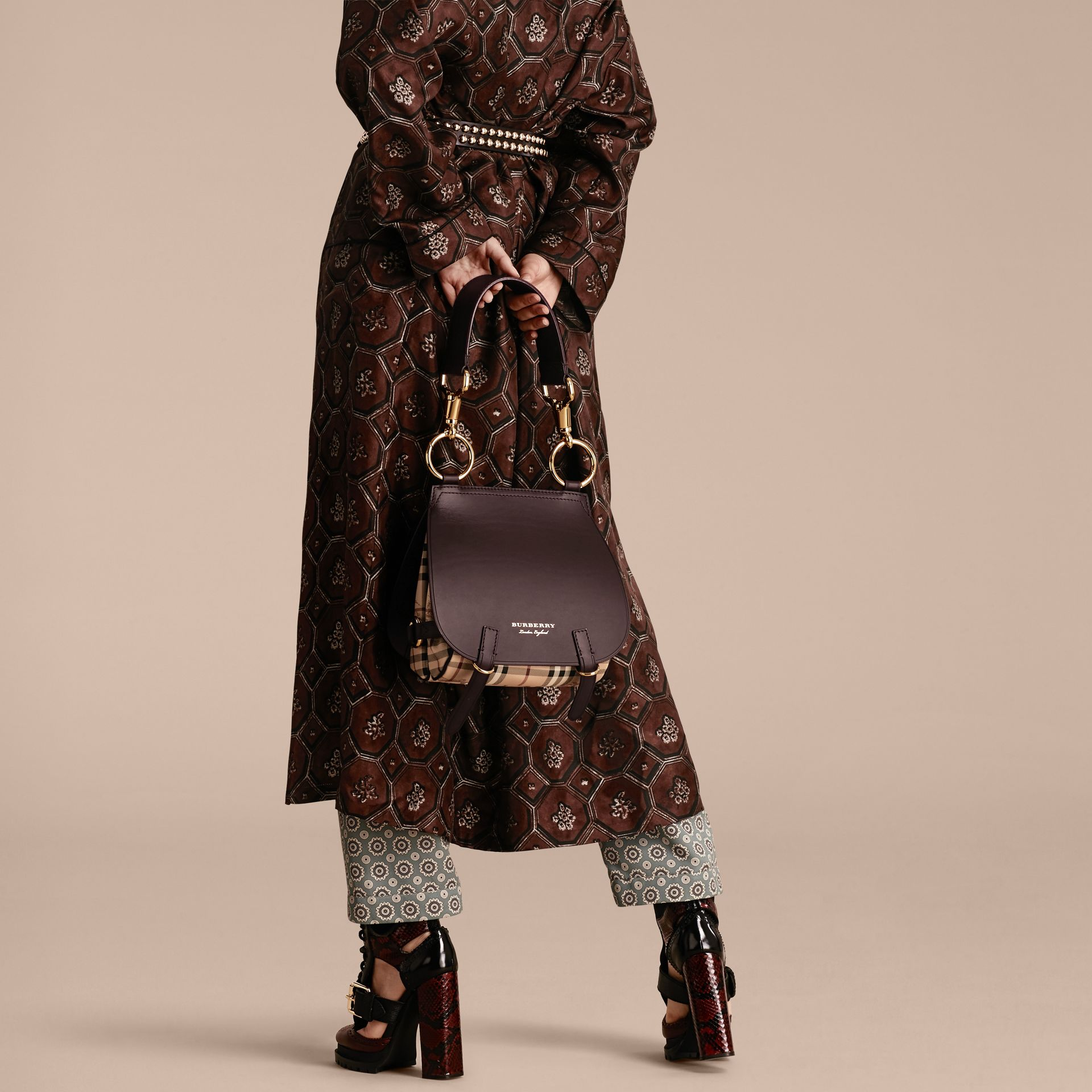 The Bridle Bag in Leather and Haymarket Check in Dark Clove Brown - Women | Burberry Australia - gallery image 3