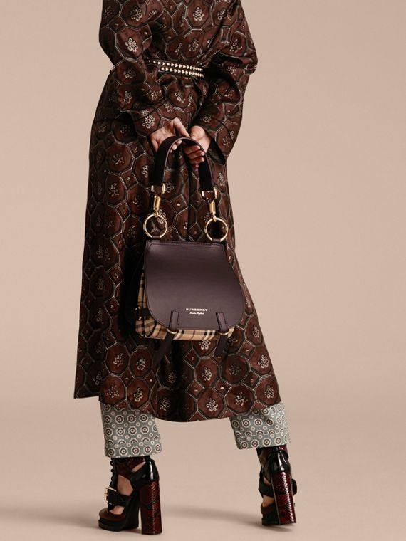 The Bridle Bag in Leather and Haymarket Check in Dark Clove Brown - Women | Burberry Australia - cell image 2