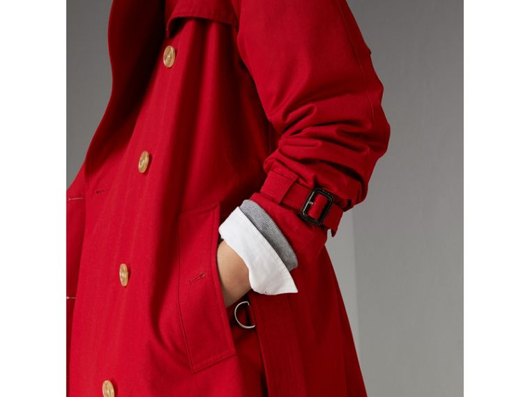 Raglan-sleeve Cotton Trench Coat in Parade Red - Women | Burberry Singapore - cell image 1