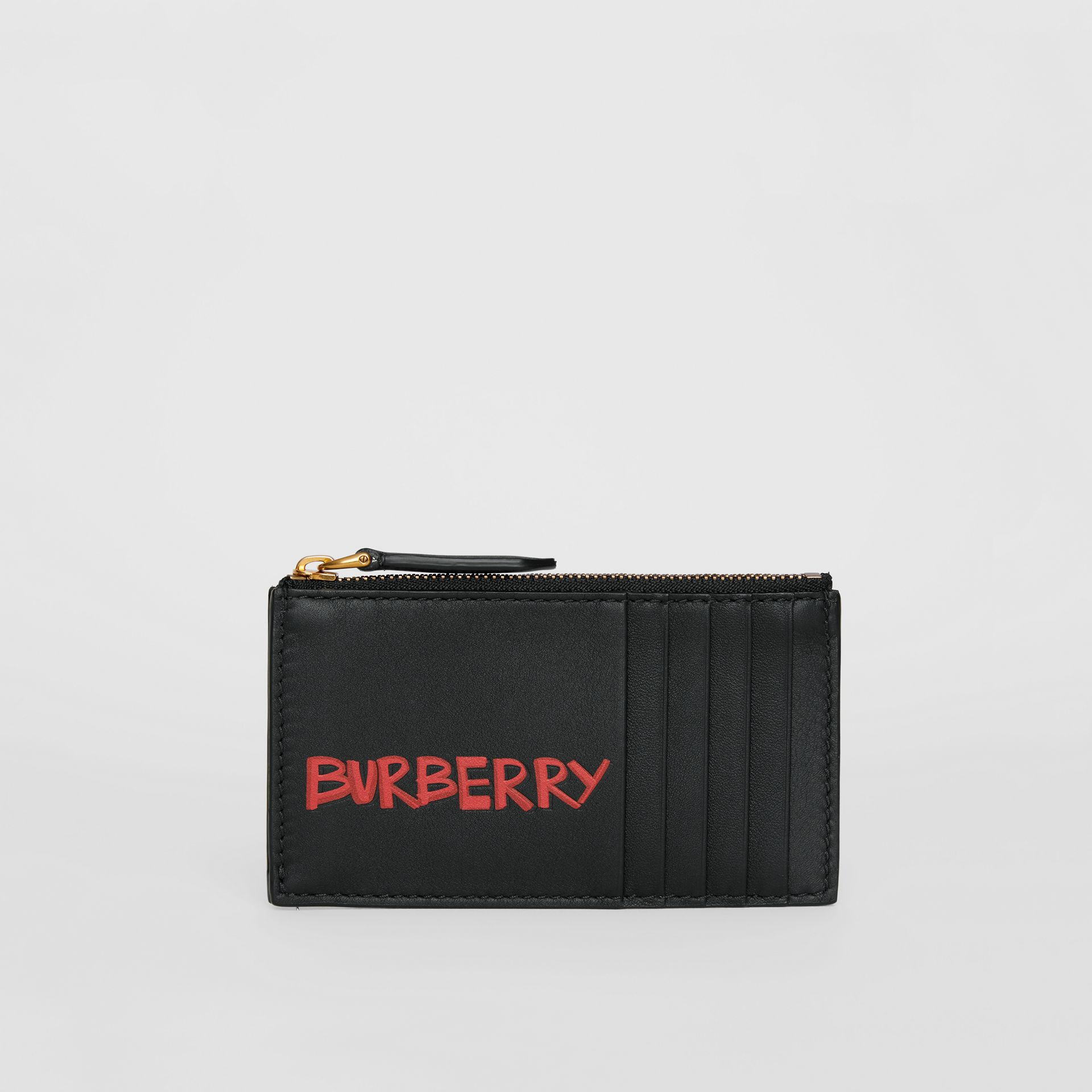 Graffiti Print Leather Zip Card Case in Black | Burberry - gallery image 2
