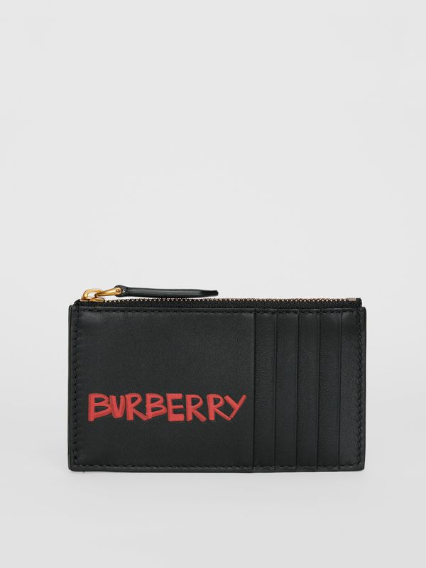 Graffiti Print Leather Zip Card Case in Black | Burberry - cell image 2