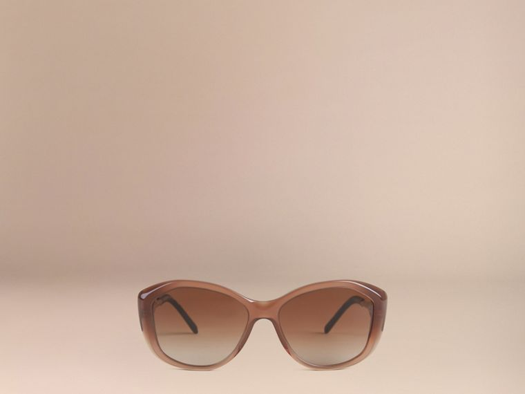 Gabardine Collection Square Frame Sunglasses Dark Amber - cell image 1