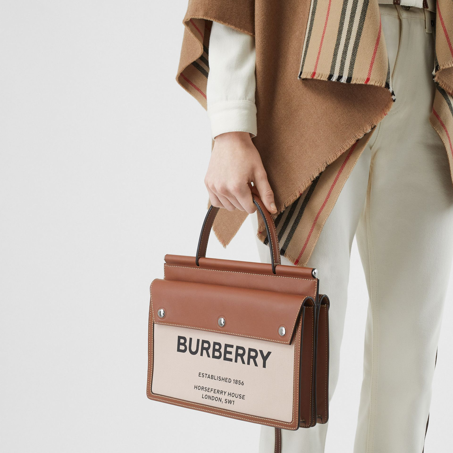 Small Horseferry Print Title Bag with Pocket Detail in Natural/malt Brown - Women | Burberry United Kingdom - gallery image 1
