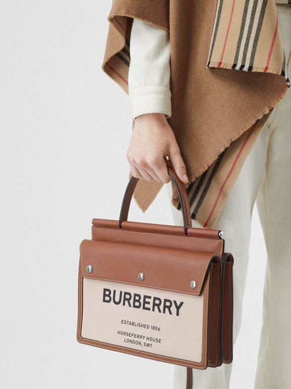 Small Horseferry Print Title Bag with Pocket Detail in Natural/malt Brown - Women | Burberry United Kingdom - cell image 1