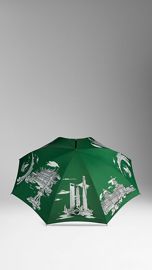 Bright cedar green print Shanghai Landmarks Walking Umbrella - Image 3