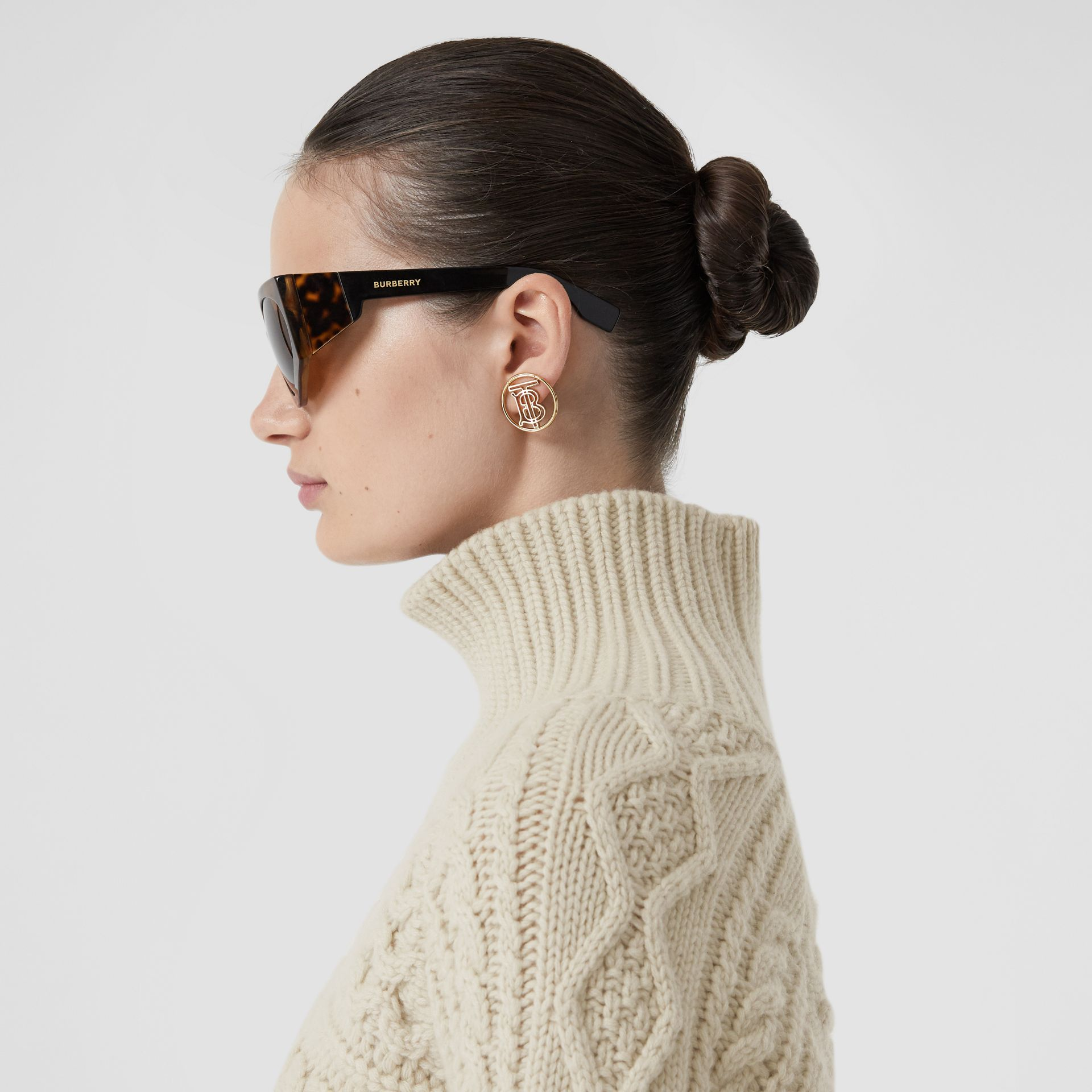 Icon Stripe Cuff Cable Knit Cashmere Sweater in Natural White - Women | Burberry - gallery image 1