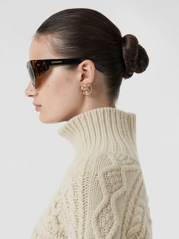Icon Stripe Cuff Cable Knit Cashmere Sweater in Natural White - Women | Burberry - cell image 1
