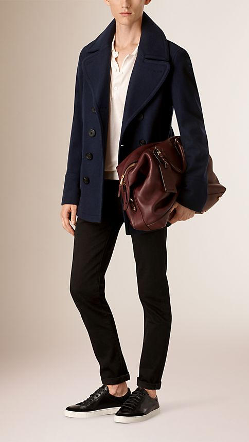 Navy Wool Cashmere Pea Coat - Image 2