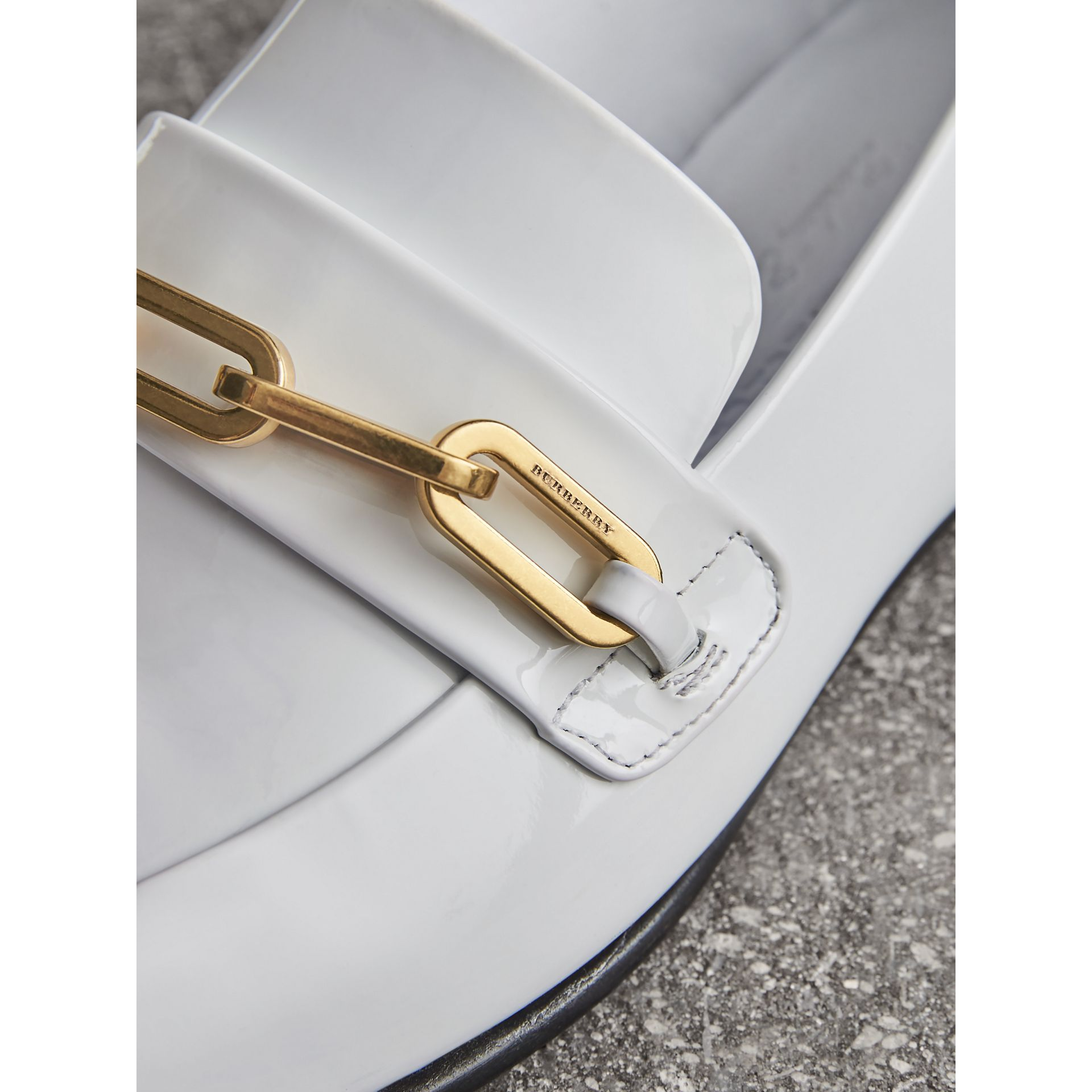 Link Detail Patent Leather Loafers in Optic White - Women | Burberry United States - gallery image 1