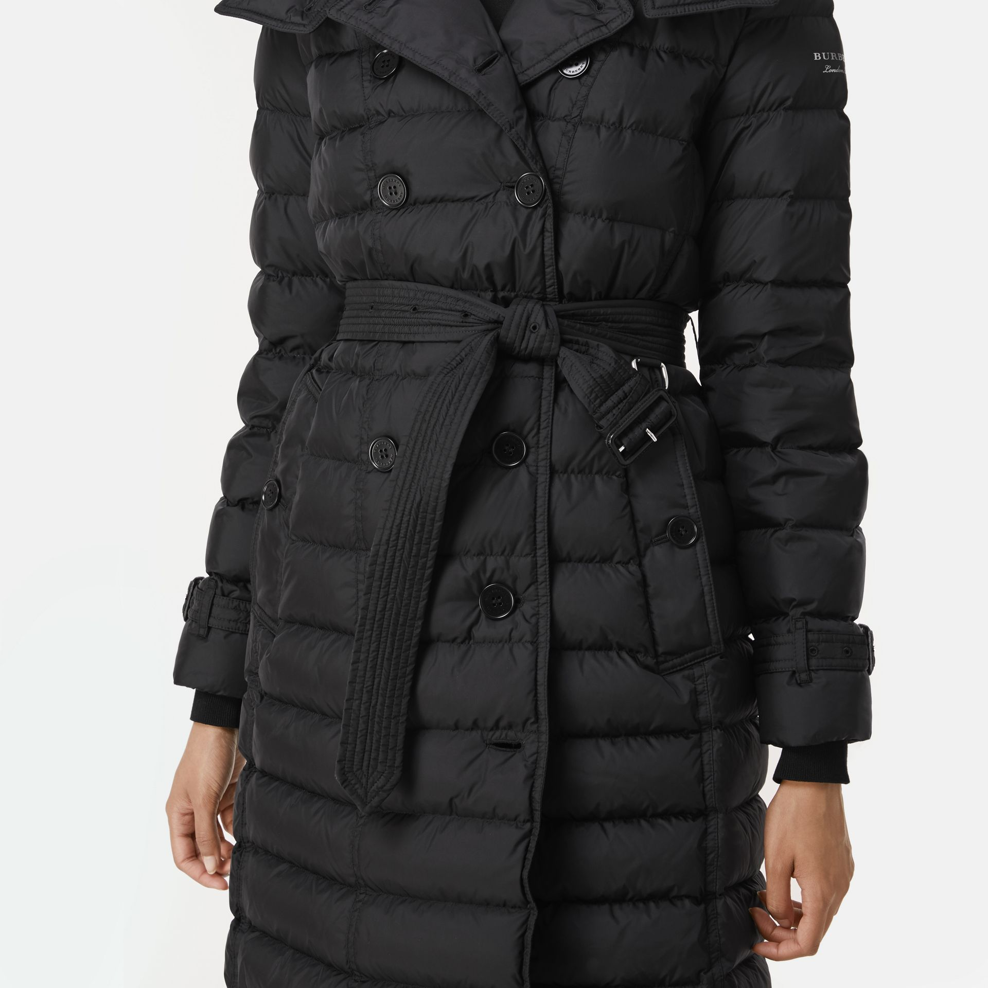 Detachable Hood Down-filled Puffer Coat in Black - Women | Burberry Hong Kong - gallery image 4