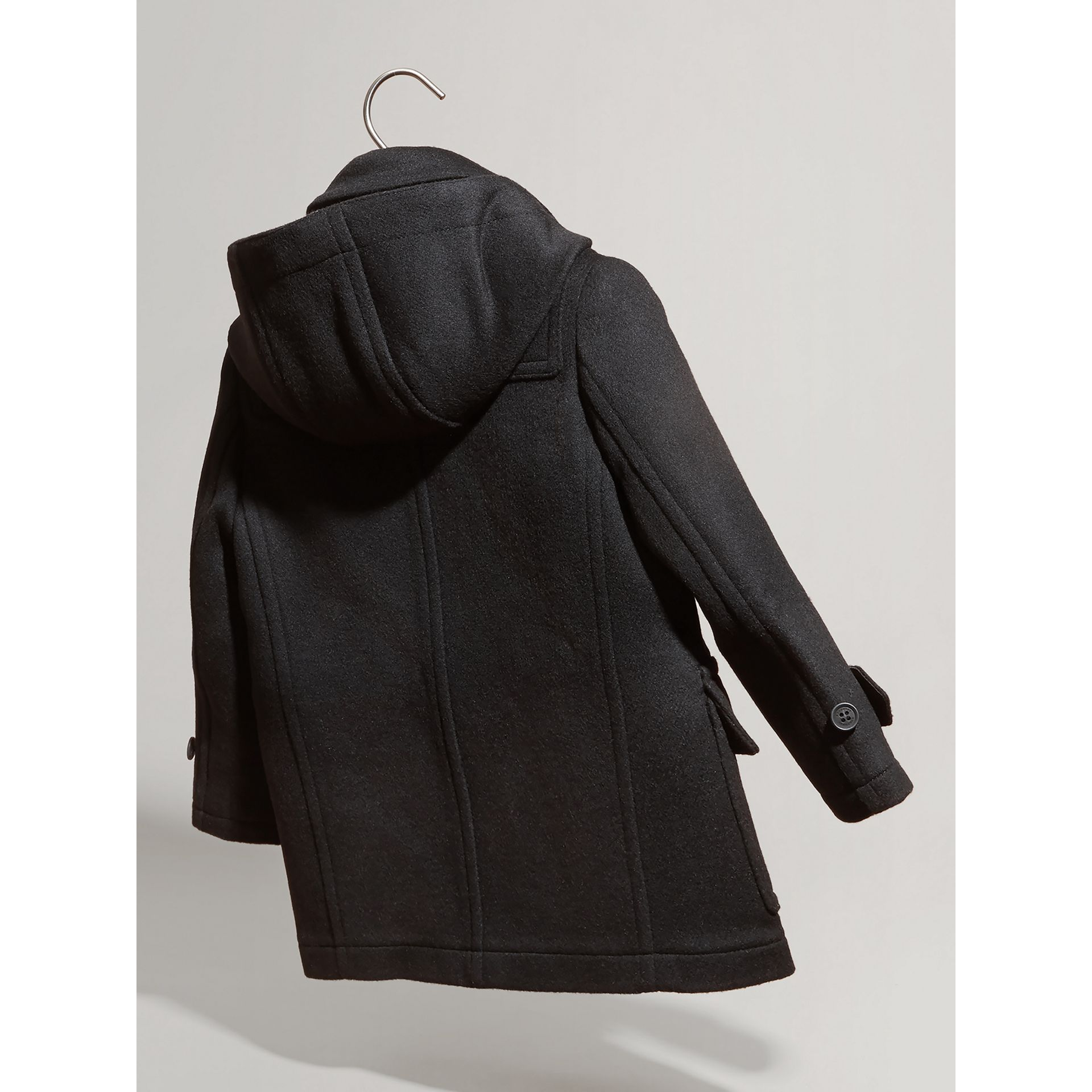 Hooded Wool Duffle Coat in Black | Burberry - gallery image 2
