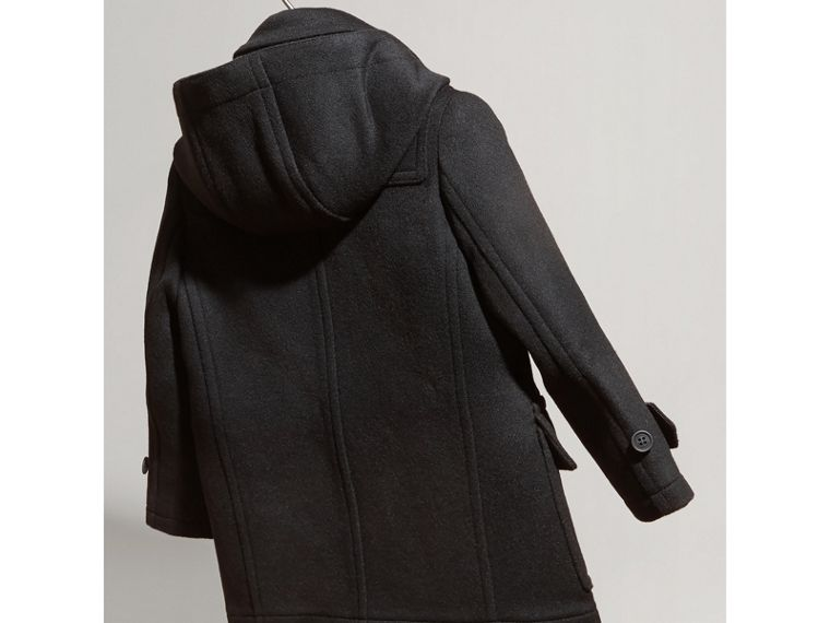 Hooded Wool Duffle Coat in Black | Burberry Singapore - cell image 2