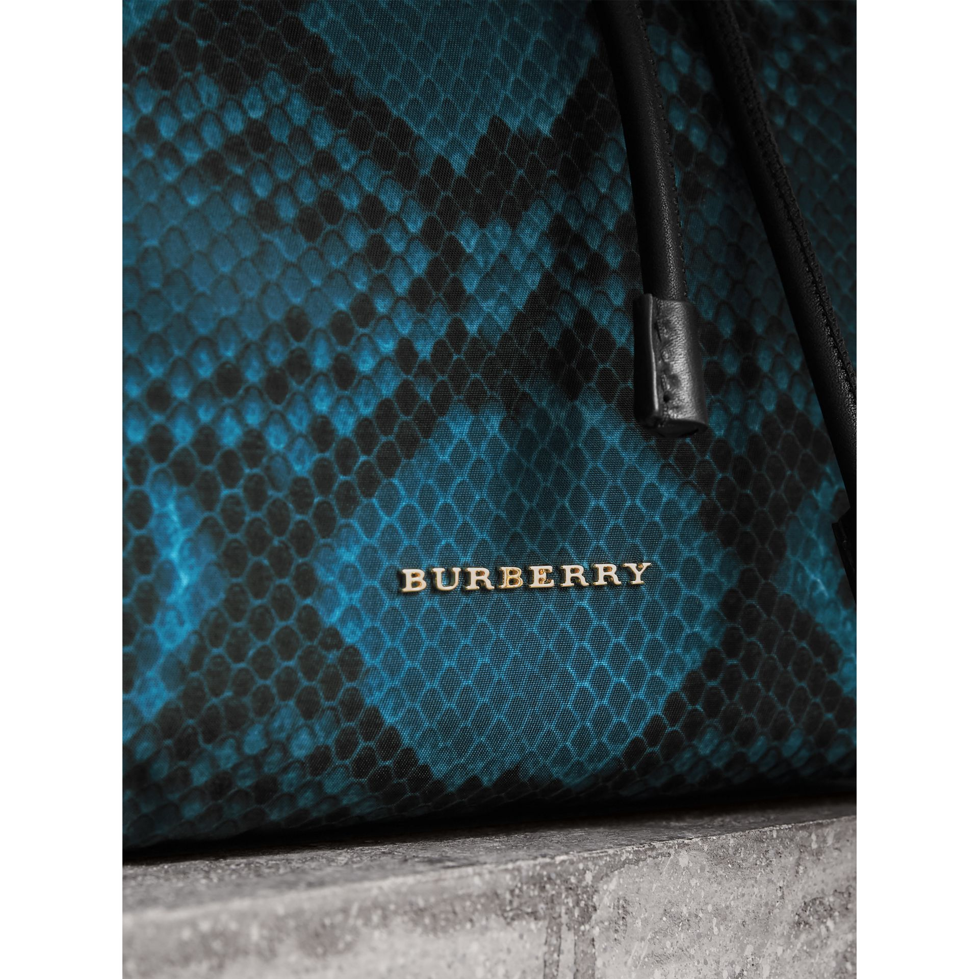 The Medium Rucksack in Python Print Nylon and Leather in Blue - gallery image 2