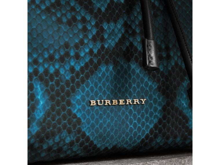 The Medium Rucksack in Python Print Nylon and Leather in Blue - Women | Burberry - cell image 1