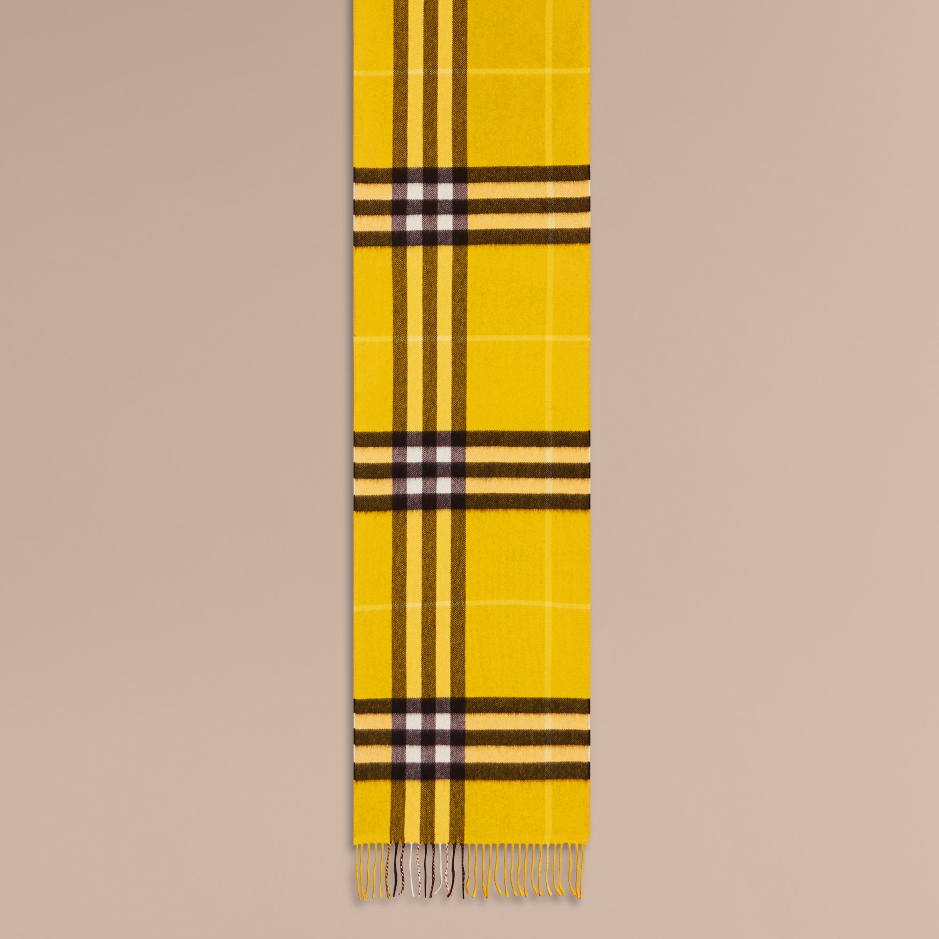 The Classic Check Cashmere Scarf in Gorse Yellow | Burberry - gallery image 1